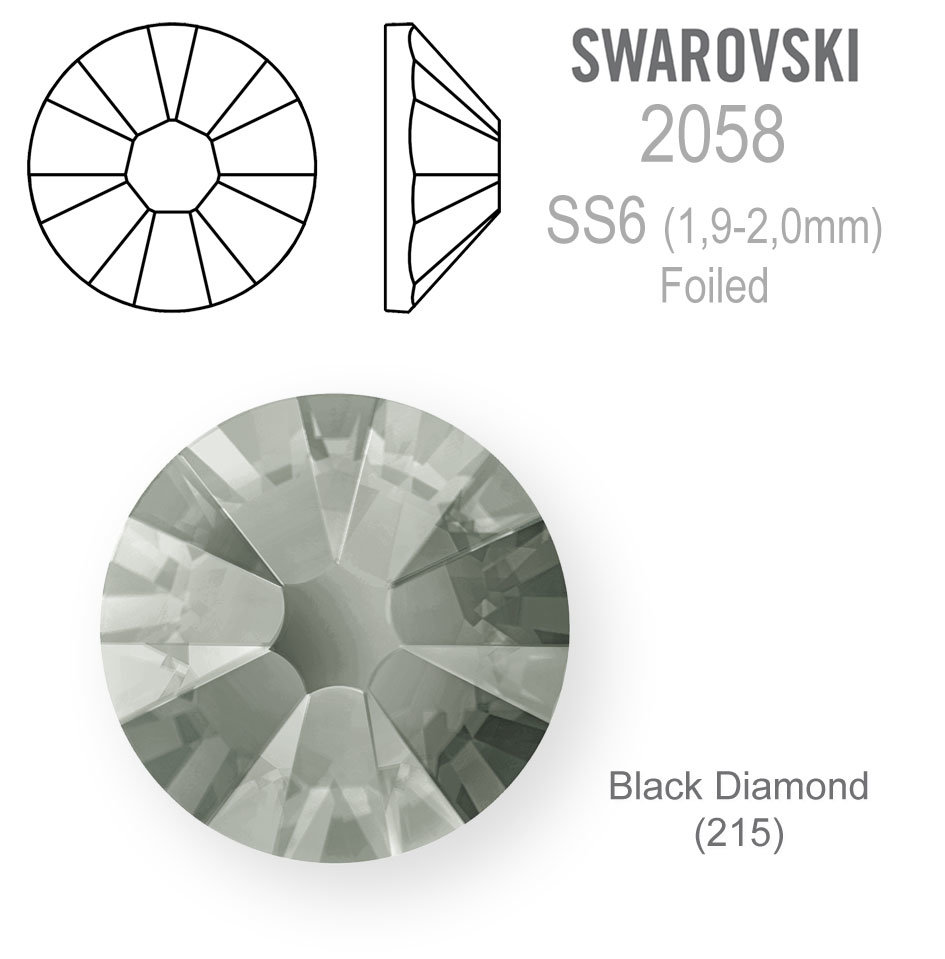 SWAROVSKI Foiled SS6 BLACK DIAMOND
