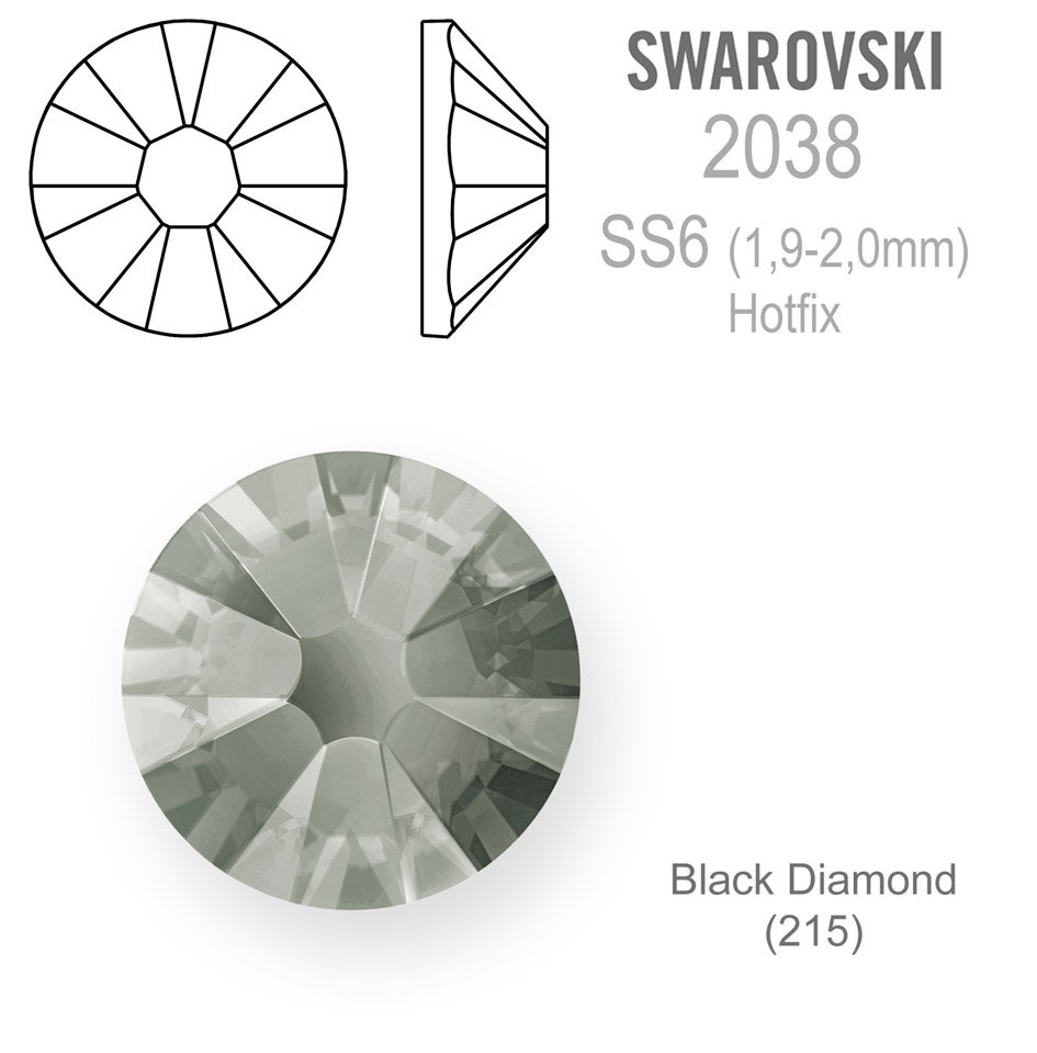 SWAROVSKI Hotfix SS6 BLACK DIAMOND