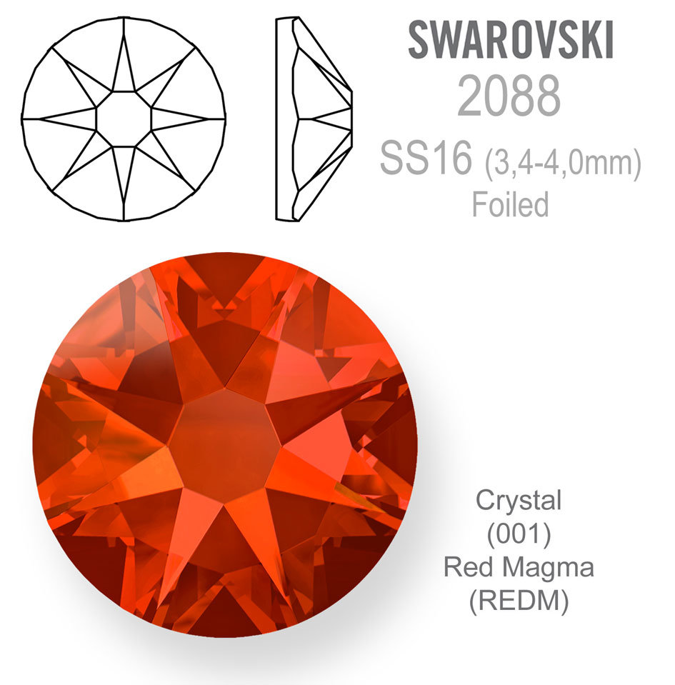 SWAROVSKI Foiled SS16 CRYSTAL RED MAGMA