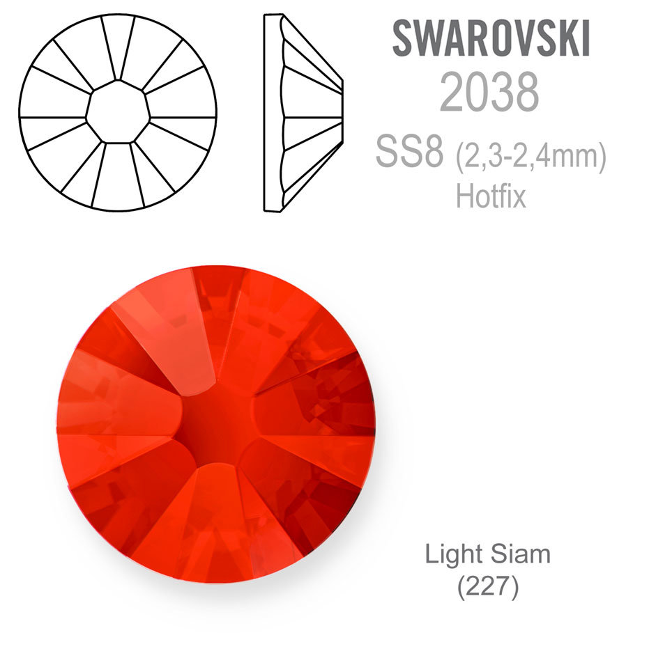 Swarovski 2038 XILION Rose Hotfix SS8 Light Siam