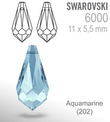 SWAROVSKI 6000 AQUAMARINE 11x5mm