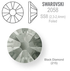 SWAROVSKI Foiled SS8 BLACK DIAMOND