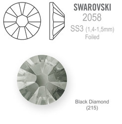 SWAROVSKI FOILED SS3 BLACK DIAMOND