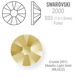 Swarovski FOILED SS3 Crystal Metallic Light Gold
