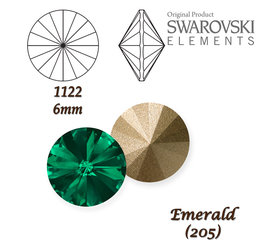 SWAROVSKI RIVOLI 1122 EMERALD 6mm
