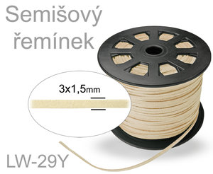 SEMISOVA SNURA PLOCHA 3mm LW-29Y LIGHT BEIGE