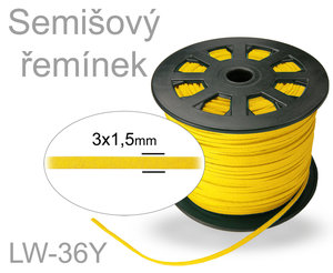 SEMISOVA SNURA PLOCHA 3mm LW-36Y YELLOW