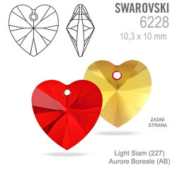 SWAROVSKI 6202 Light Siam (227) AB 10x10mm