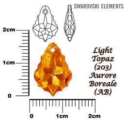 SWAROVSKI 6090 LIGHT TOPAZ  AURORE BOREALE 16x11mm