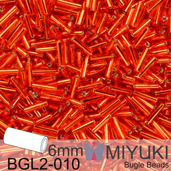 Miyuki Bugle Bead 6mm BGL2-010 Silverlined Flame Red