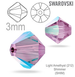 Swarovski 5328 Bead Light Amethyst Shimmer 3mm
