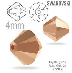 SwarovskiI 5328 XILION Bead Crystal Rose Gold 4mm