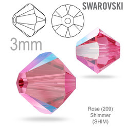 Swarovski 5328 Bead Rose Shimmer 3mm