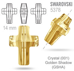 Swarovski 5378 Cross Bead barva Crystal Golden Shadow 14mm