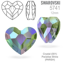 Swarovski 5741 Love Bead Crystal (001) Paradise Shine (PARSH) 12mm