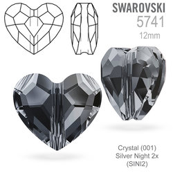 Swarovski 5741 Love Bead Crystal Silver Night 2x  12mm