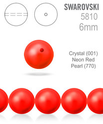 Swarovski 5810 Neon Red Pearl 770 vel 6mm