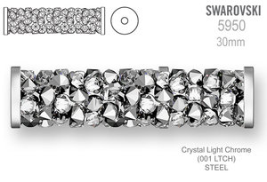 Swarovski 5950 Fine Rocks Tube 30mm Crystal Light Chrome STEEL