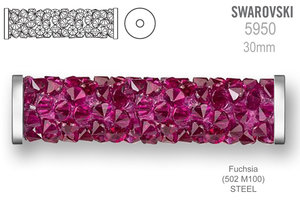 Swarovski 5950 Fine Rocks Tube 30mm Fuchsia STEEL