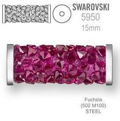 Swarovski 5950 Fine Rocks Tube 15mm Fuchsia STEEL