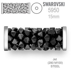 Swarovski 5950 Fine Rocks Tube 15mm Jet STEEL