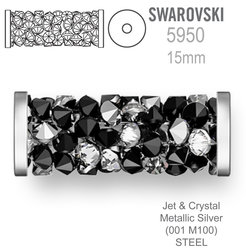 Swarovski 5950 Fine Rocks Tube 15mm Jet & Crystal Metallic Silver STEEL