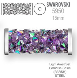 Swarovski 5950 Fine Rocks Tube 15mm  Light Amethyst Paradise Shine STEEL