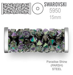 Swarovski 5950 Fine Rocks Tube 15mm Paradise Shine STEEL