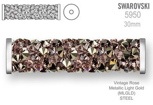 Swarovski 5950 Fine Rocks Tube 30mm Vintage Rose Metallic Light Gold STEEL