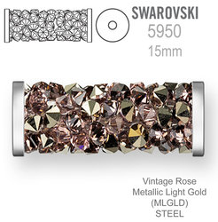 Swarovski 5950 Fine Rocks Tube 15mm Vintage Rose Metallic Light Gold STEEL