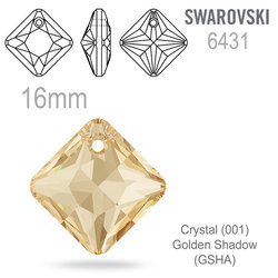Swarovski 6431 Princess Cut Pendant barva Crystal Golden Shadow 16mm