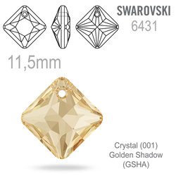 Swarovski 6431 Princess Cut Pendant barva Crystal Golden Shadow 11,5mm