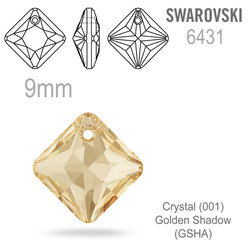 Swarovski 6431 Princess Cut Pendant barva Crystal Golden Shadow 9mm