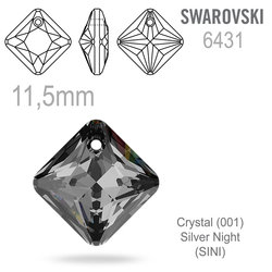 Swarovski 6431 Princess Cut Pendant barva Crystal Silver Night 11,5mm