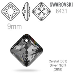 Swarovski 6431 Princess Cut Pendant barva Crystal Silver Night 9mm