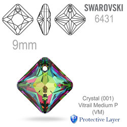 Swarovski 6431 Princess Cut Pendant barva Crystal Vitrail Medium 9mm