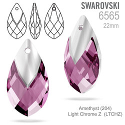 SWAROVSKI 6565 Met Cap Pear-shaped Pend Amethyst 22mm
