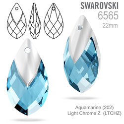 SWAROVSKI 6565 Met Cap Pear-shaped Pend Aquamarine 22mm