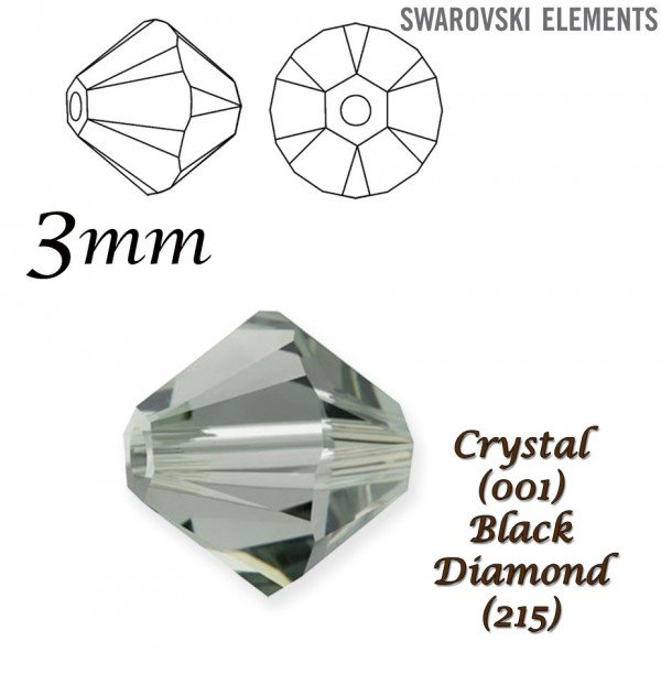 SWAROVSKI 5328 BEAD BLACK DIAMOND  3mm
