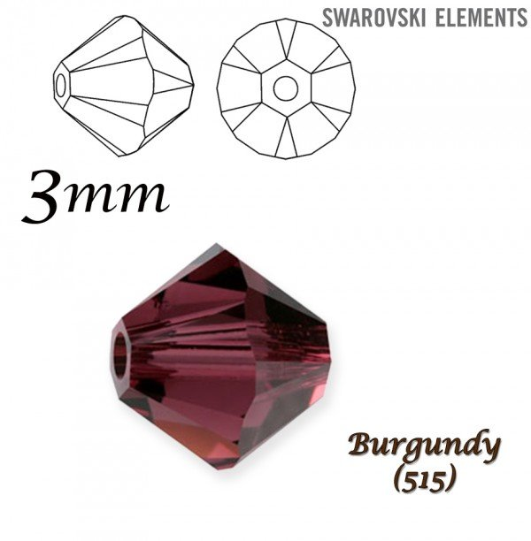 SWAROVSKI 5328 BEAD BURGUNDY 3mm