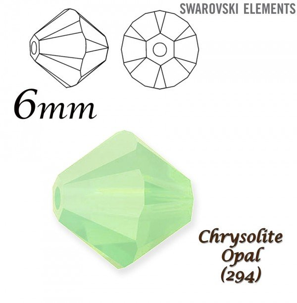 SWAROVSKI 5328 BEAD CHRYSOLITE OPAL  6mm