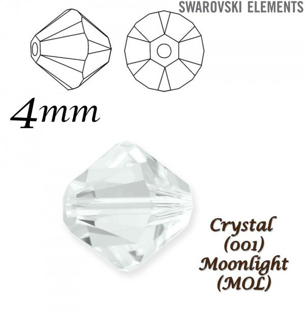 SWAROVSKI 5328 BEAD CRYSTAL MOONLIGHT  4mm