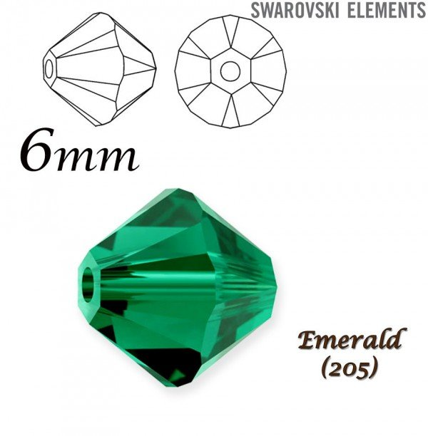 SWAROVSKI 5328 BEAD EMERALD  6mm