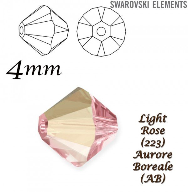 SWAROVSKI 5328 BEAD LIGHT ROSE  AURORE BOREALE 4mm