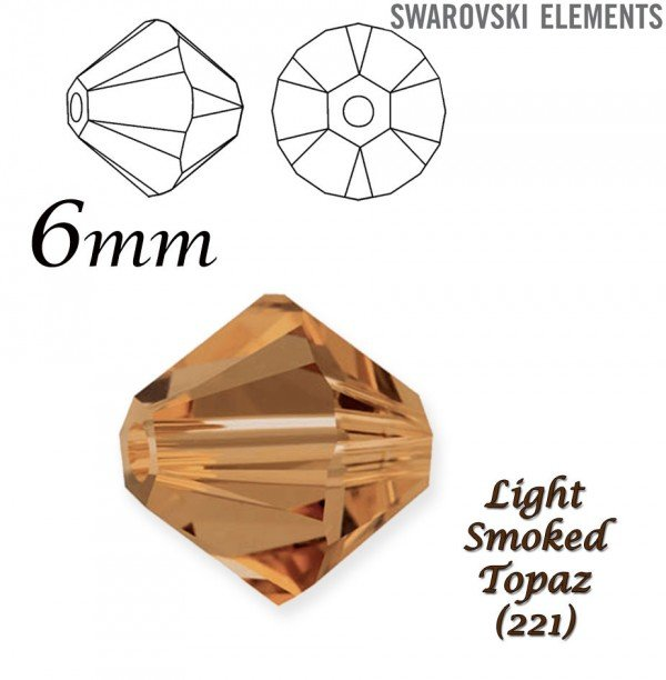 SWAROVSKI 5328 BEAD LIGHT SMOKED TOPAZ  6mm