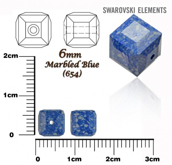SWAROVSKI 5601-B CUBE Bead MARBLED BLUE 6mm