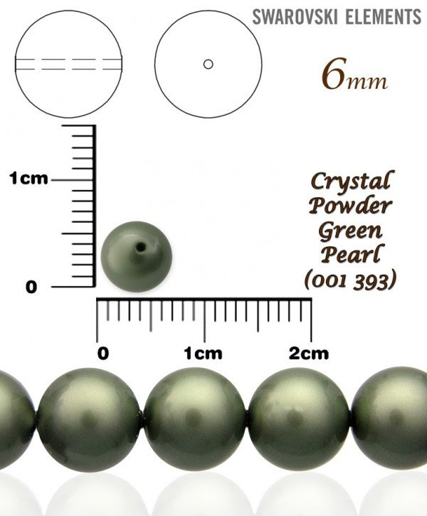 SWAROVSKI 5810 POWDER GREEN PEARL 393 vel-6mm