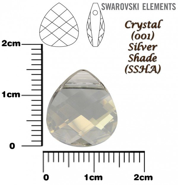 SWAROVSKI 6012 CRYSTAL SILVER SHADE 15mm