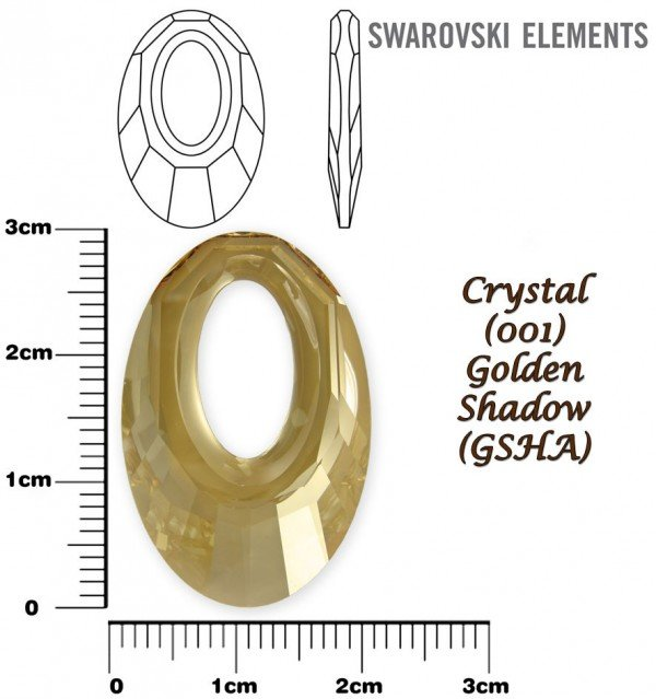 SWAROVSKI 6040 CRYSTAL GOLDEN SHADOW  30mm