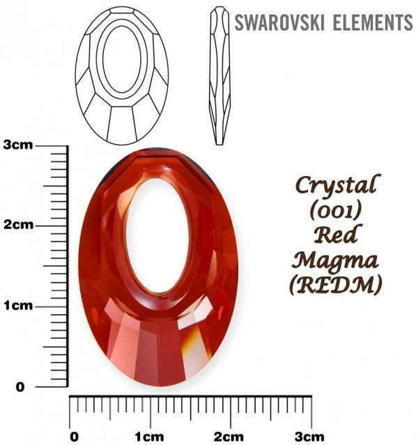 SWAROVSKI 6040 CRYSTAL RED MAGMA 30mm